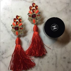 Jewelry - Oversized Bold Red Rhinestone Tassel Earrings